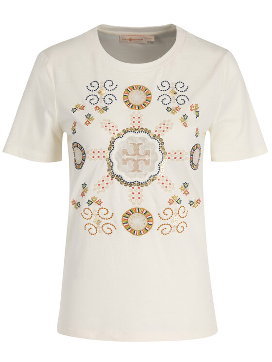 Tory Burch Tory Burch T-Shirt 56528 Beżowy Regular Fit