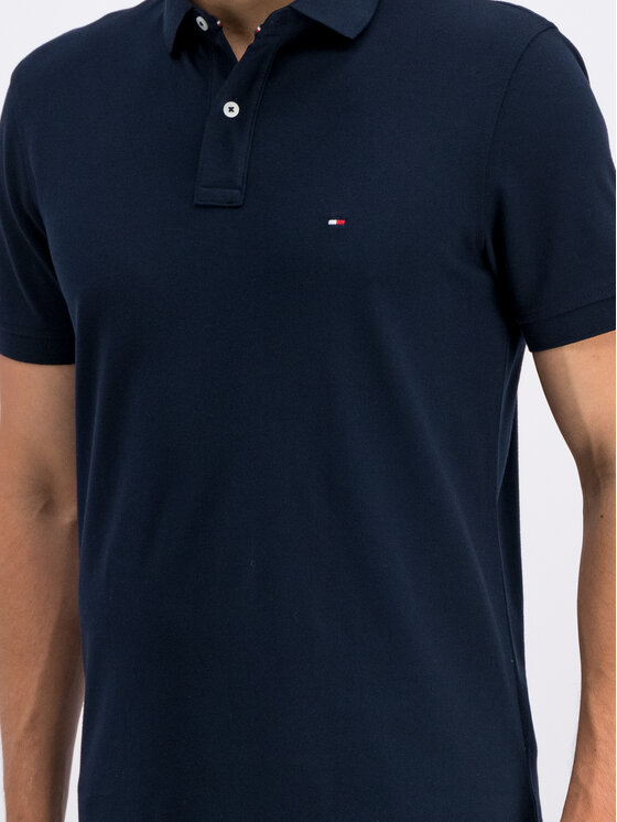Tommy Hilfiger Tommy Hilfiger Тениска с яка и копчета MW0MW04976 Тъмносин Regular Fit