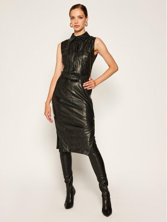 Babylon Dirbtinės odos suknelė E00780 Juoda Slim Fit