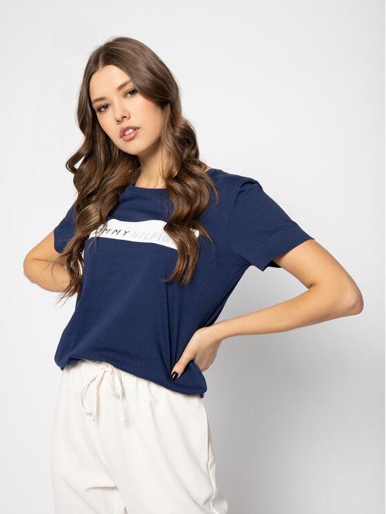 Tommy Hilfiger Tommy Hilfiger T-Shirt WW0WW25177 Granatowy Regular Fit