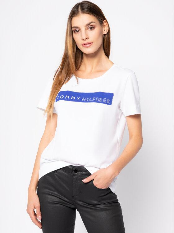 Tommy Hilfiger Tommy Hilfiger T-Shirt Bille Round WW0WW25177 Bílá Regular Fit