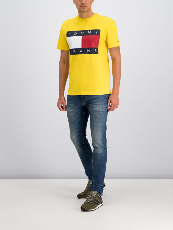 Tommy Jeans Tommy Jeans T-Shirt Flag Logo DM0DM07009 Žlutá Regular Fit