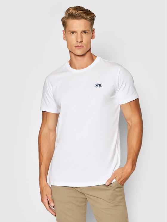 La Martina Marškinėliai CCMR04 JS206 Balta Regular Fit