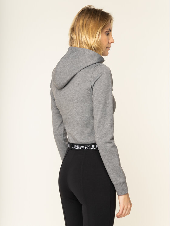 Calvin Klein Jeans Calvin Klein Jeans Mikina Cropped Milano J20J212892 Šedá Regular Fit