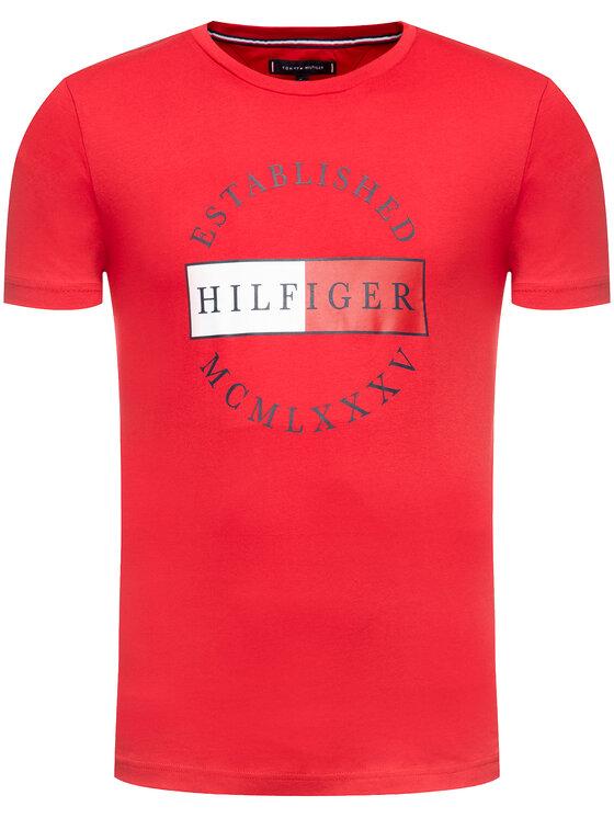 TOMMY HILFIGER TOMMY HILFIGER Tričko Corp Circular Tee MW0MW12532 Červená Regular Fit