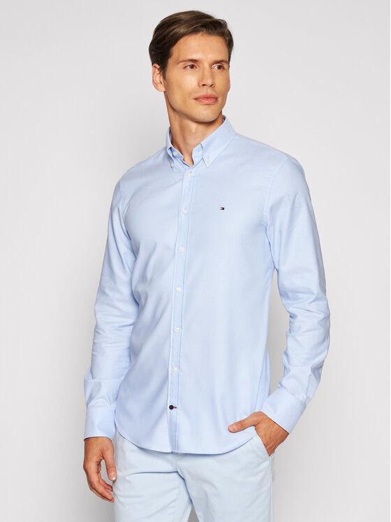 Tommy Hilfiger Tailored Marškiniai Dobby MW0MW18976 Mėlyna Slim Fit
