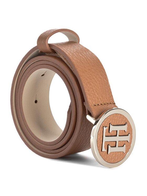 Tommy Hilfiger Tommy Hilfiger Дамски колан Th Round Buckle Belt 3.0 AW0AW02940 75 Кафяв
