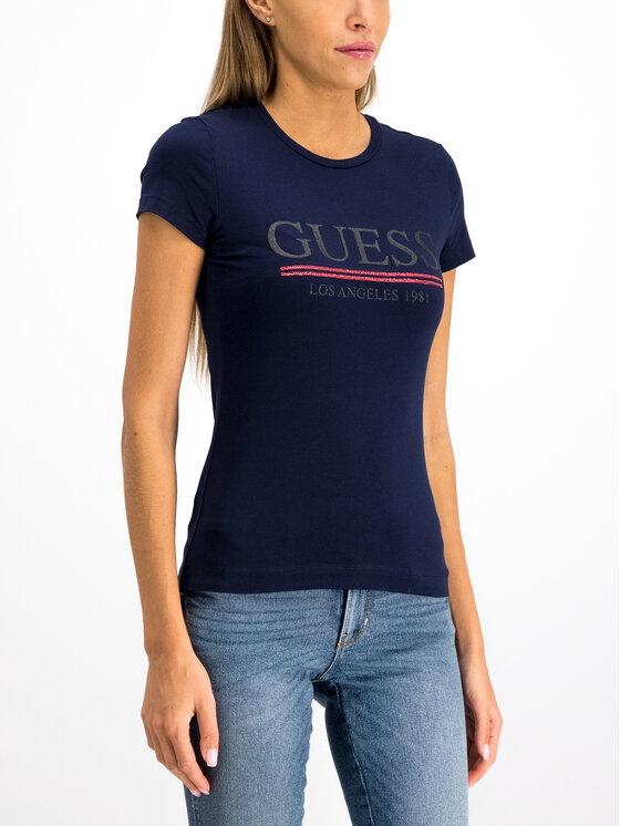 Guess Guess Marškinėliai W94I20 J1300 Tamsiai mėlyna Regular Fit