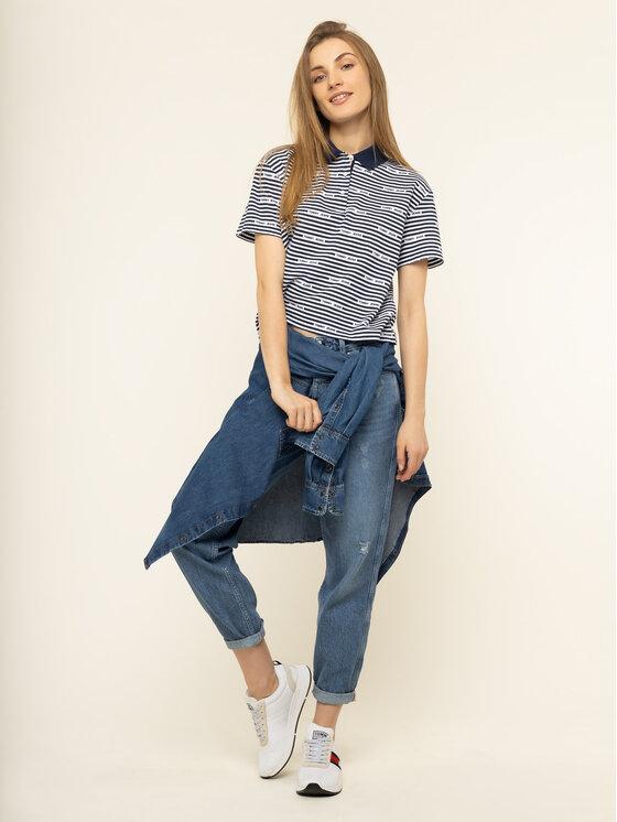 Tommy Jeans Tommy Jeans Polo marškinėliai Stripe DW0DW07643 Tamsiai mėlyna Oversize