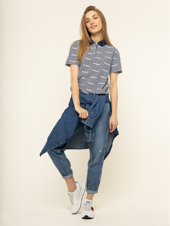 Tommy Jeans Tommy Jeans Polo Stripe DW0DW07643 Granatowy Oversize