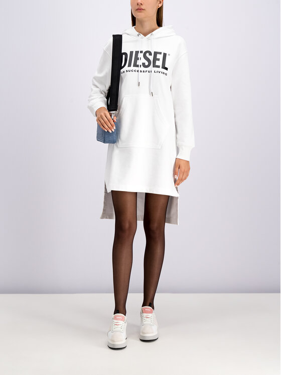 Diesel Diesel Φόρεμα υφασμάτινο D-Iles-T 00SYWA 0IAJH Λευκό Oversize