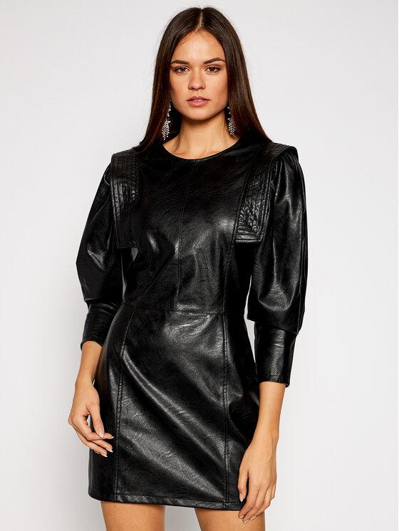Imperial Dirbtinės odos suknelė AA5AABD Juoda Slim Fit