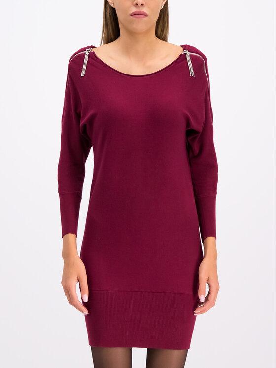 Guess Guess Úpletové šaty Carmen W94K1F Z2760 Bordová Slim Fit
