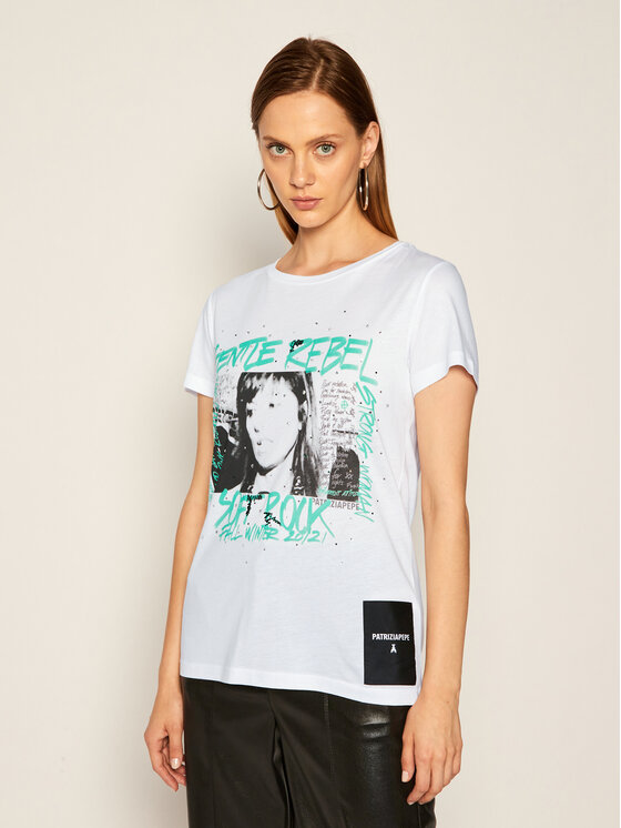 Patrizia Pepe Patrizia Pepe T-Shirt 8M1070/A7K4-W103 Bílá Regular Fit