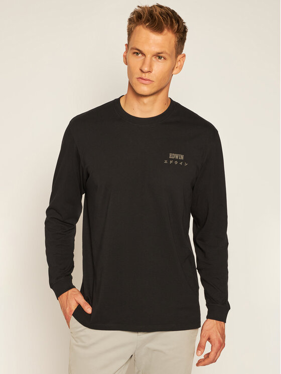 Edwin Marškinėliai ilgomis rankovėmis Logo Chest I028563 TJ26J94 8967 Juoda Regular Fit