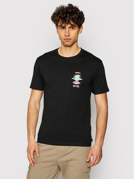 Rip Curl Marškinėliai Search Essential CTESV9 Juoda Standard Fit