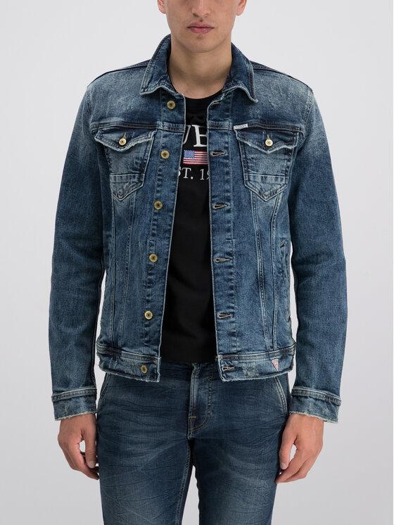 Guess Guess Jeansová bunda William M93N14 D3P70 Tmavomodrá Regular Fit