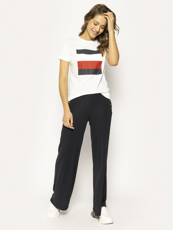 Tommy Hilfiger Tommy Hilfiger Tricou Cathy WW0WW25179 Alb Regular Fit