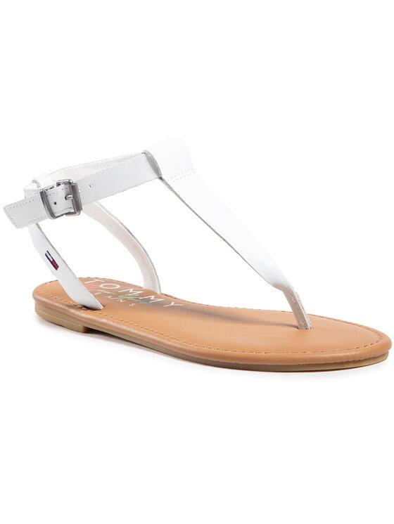 Tommy Jeans Basutės Essential Toe Post Flat Sandal EN0EN01316 Balta