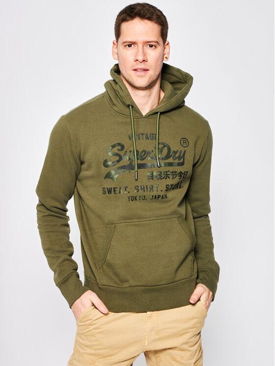 Superdry Superdry Bluza VL Shirt Shop Bonded M2010104A Zielony Regular Fit