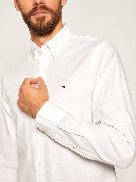 Tommy Hilfiger Tommy Hilfiger Koszula Dobby MW0MW12178 Biały Slim Fit