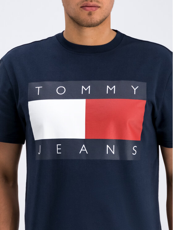 Tommy Jeans Tommy Jeans Tričko Flag Logo DM0DM07009 Tmavomodrá Regular Fit