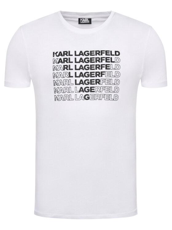 KARL LAGERFELD KARL LAGERFELD Marškinėliai Crewneck 755045 501220 Balta Regular Fit