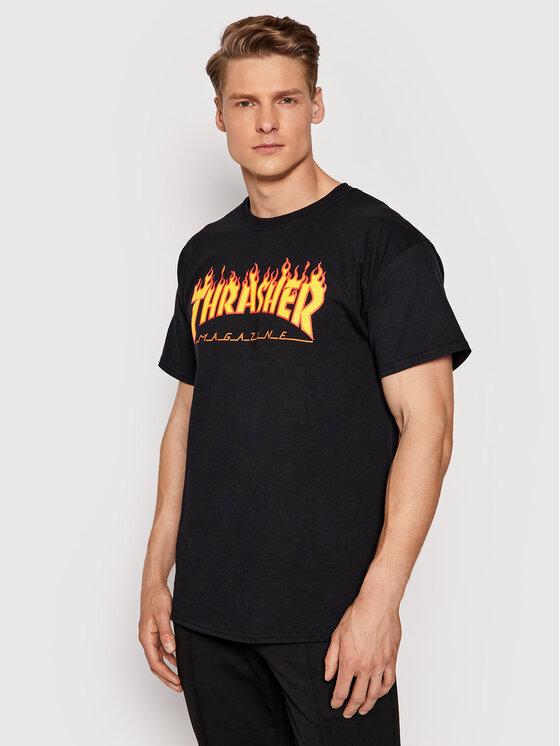 Thrasher Marškinėliai Flame Juoda Regular Fit