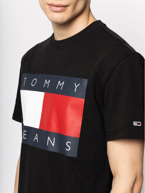Tommy Jeans Tommy Jeans T-Shirt Flag Logo DM0DM07009 Czarny Regular Fit