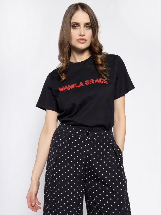 Manila Grace Manila Grace T-Shirt T169CU Μαύρο Regular Fit