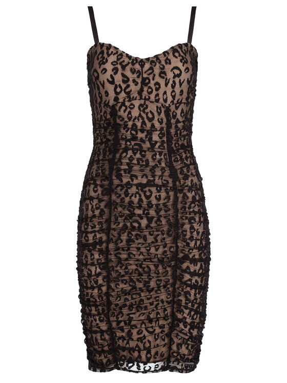 Guess Guess Koktejlové šaty Candida W01K0Q K9IB0 Čierna Slim Fit