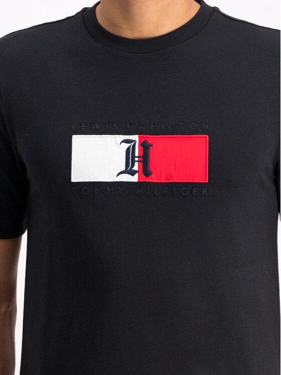 Tommy Hilfiger Tommy Hilfiger Tricou LEWIS HAMILTON Flag MW0MW11428 Negru Regular Fit