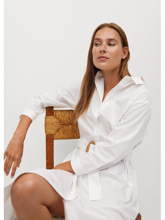 Mango Sukienka koszulowa Popi 87009034 Biały Regular Fit