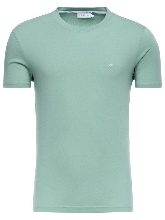 Calvin Klein Calvin Klein T-Shirt Logo Embroidery K10K103076 Zielony Regular Fit