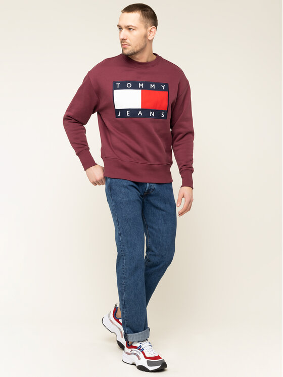 Tommy Jeans Tommy Jeans Bluza Tjm Flag Crew DM0DM07201 Bordowy Regular Fit