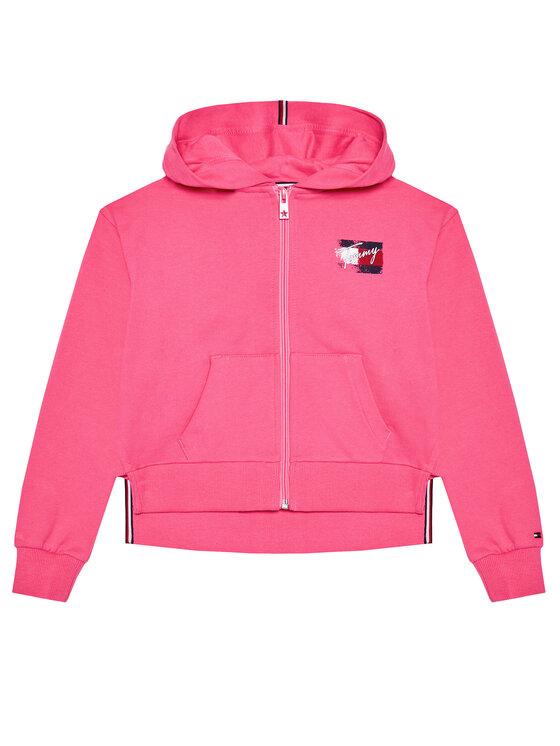 Tommy Hilfiger Tommy Hilfiger Bluza Flag Print Zip Hoody KG0KG05765 M Różowy Regular Fit