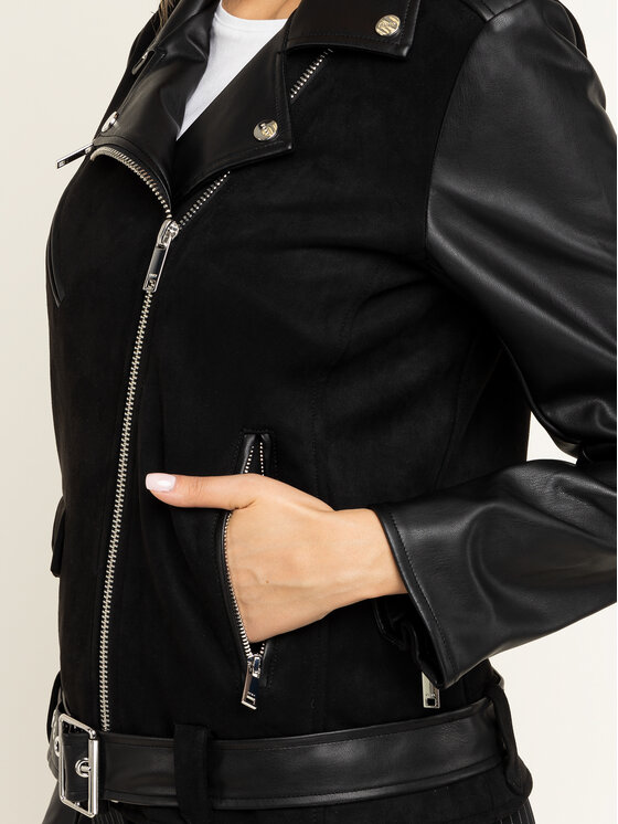 DKNY DKNY Veste en cuir P9HC6CLE Noir Regular Fit