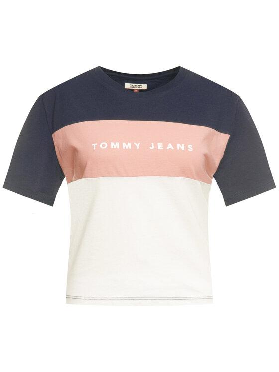 Tommy Jeans Tommy Jeans Tričko Stripe Logo DW0DW07536 Tmavomodrá Regular Fit