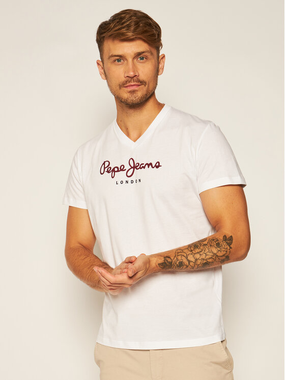 Pepe Jeans Pepe Jeans Póló Eggo PM501389 Fehér Regular Fit