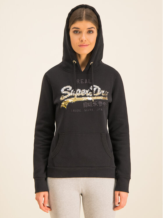 Superdry Superdry Суитшърт V Logo Ombre Sequin Entry W2000108A Черен Regular Fit