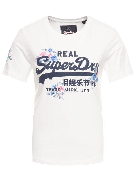 Superdry Superdry Tričko V Logo Puff Floral Entry Tee W1000082A Biela Regular Fit