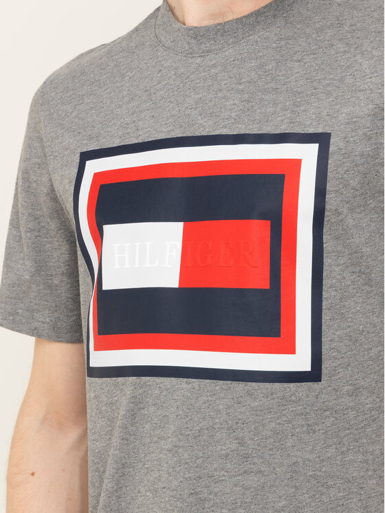 Tommy Hilfiger Tommy Hilfiger T-Shirt Hilfiger Frame MW0MW12523 Szary Relaxed Fit