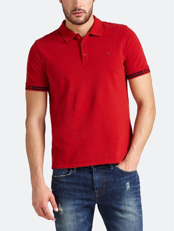 Guess Guess Тениска с яка и копчета M93P40 K8510 Червен Slim Fit