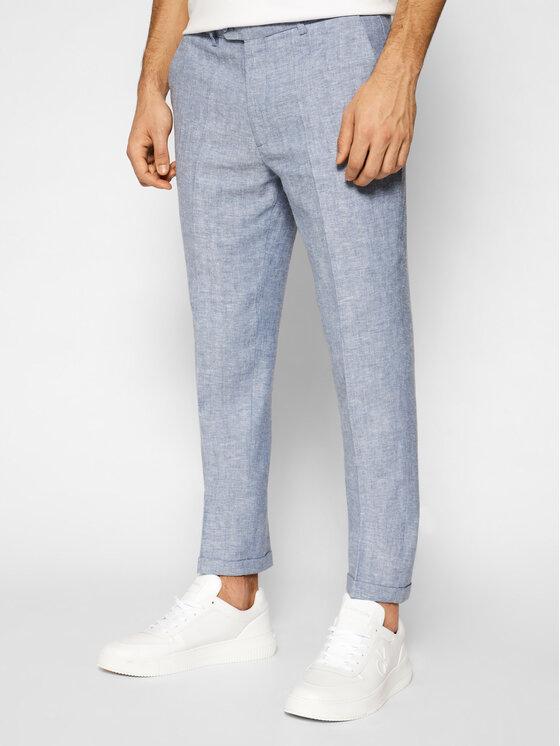 Jack&Jones PREMIUM Medžiaginės kelnės Ray 12185133 Mėlyna Super Slim Fit