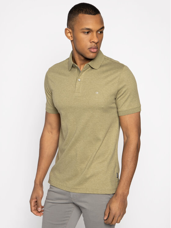 Calvin Klein Calvin Klein Polo Soft Interlock K10K105182 Zielony Slim Fit