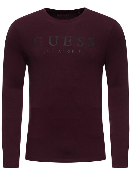 Guess Guess Longsleeve M94I40 J1300 Bordowy Super Slim Fit