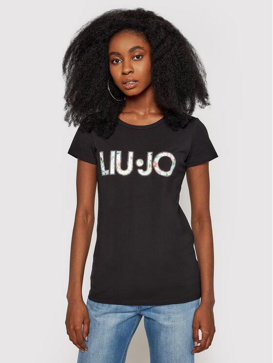 Liu Jo Beachwear Marškinėliai VA1092 J5003 Juoda Slim Fit