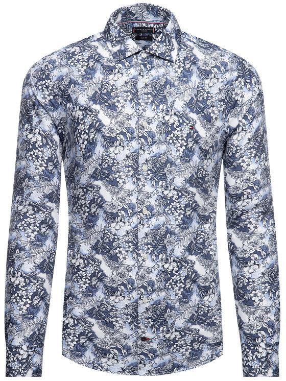 Tommy Hilfiger Tailored Tommy Hilfiger Tailored Košile Macro Floral TT0TT06518 Tmavomodrá Slim Fit