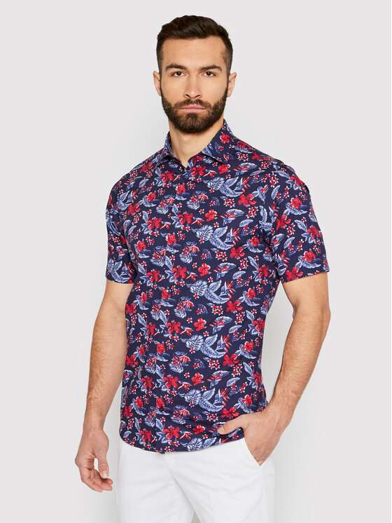 Tommy Hilfiger Tailored Marškiniai Flower Print MW0MW18449 Tamsiai mėlyna Regular Fit