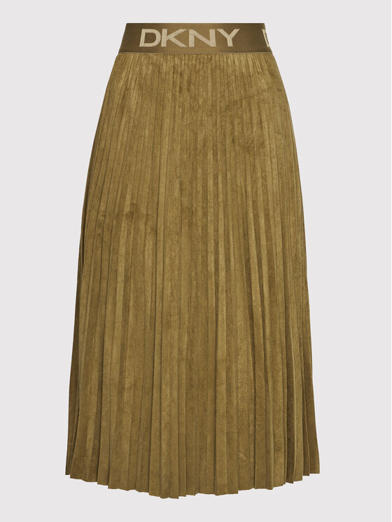 DKNY DKNY Plesirana suknja P1GNXCVM Smeđa Regular Fit
